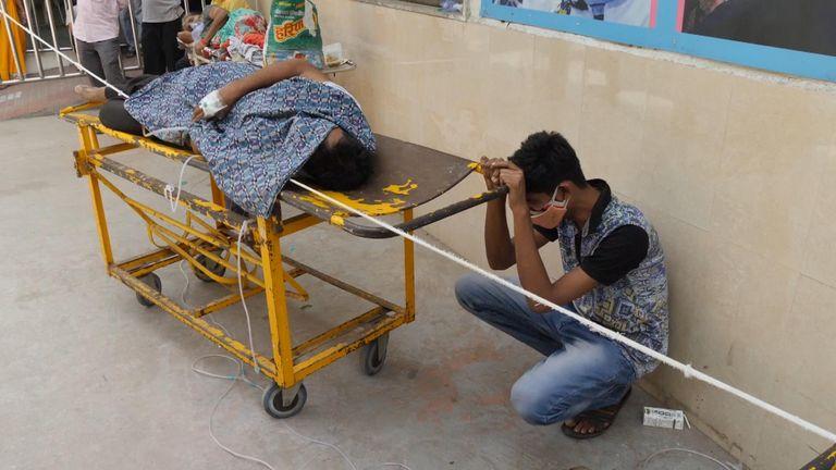 Scene outside a Delhi hospital during the COVID crisis