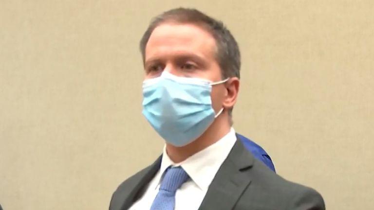 Derek Chauvin in court for verdicts.  Pic: AP