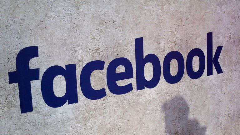 FILE - This January 17, 2017 photo shows a Facebook logo displayed at a startup business meeting in Paris. Station F in Paris. Facebook boss Mark Zuckerberg will meet French President Emmanuel Macron on Friday, May 10, 2019 as the tech giant and France try to devise ways to combat hate speech and violent extremism online. (AP photo / Thibault Camus, file)