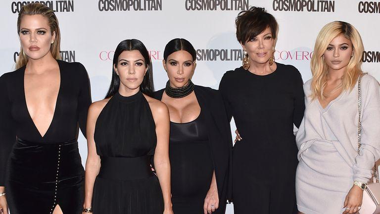Khloe Kardashian (L), Kourtney Kardashian, Kim Kardashian, Kris Jenner and Kylie Jenner pictured in 2015. Pic: AP