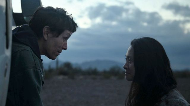 Nomadland star Frances McDormand and director Chloe Zhao on set. Pic: Searchlight Pictures/20th Century Studios