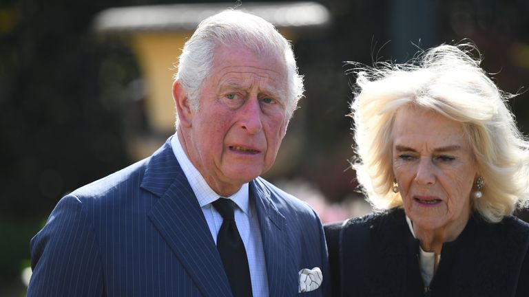 EMBARGOED TO 1100 THURSDAY APRIL 15 The Prince of Wales and the Duchess of Cornwall visit the gardens of Marlborough House, London, to view the flowers and messages left by members of the public outside Buckingham Palace following the death of the Duke of Edinburgh on April 10. Picture date: Thursday April 15, 2021