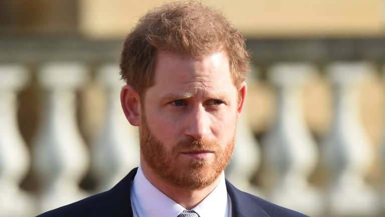 The Duke of Sussex in the Buckingham Palace gardens, London, as he hosts the Rugby League World Cup 2021 draws. PA Photo. Picture date: Thursday January 16, 2020. See PA story ROYAL Sussex Rugby. Photo credit should read: Jeremy Selwyn/Evening Standard/PA Wire
