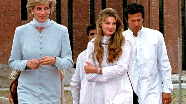 The Princess of Wales (L) and her friends Jemima and Imran Khan (R) walk past the Shaukat Khanum Memorial Cancer Hospital in Lahore February 22. Princess Diana is in Lahore for a two day visit