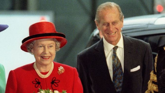 The Queen and Prince Philip arrive for lunch to mark their golden wedding anniversary in 1997