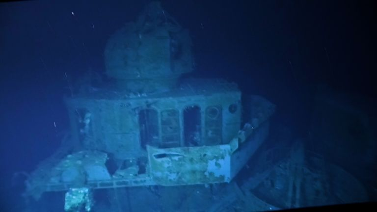 The wreck of the USS Johnston was filmed for the first time. Image: Victor Vescovo / Caladan Oceanic