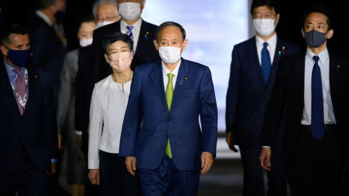 Japan's Prime Minister Yoshihide Suga arrived in Cornwall on Friday morning