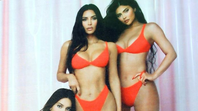 Kendall Jenner, Kim Kardashian and Kylie Jenner on a 'Skims' Billboard in Los Angeles in 2021. Pic: gotpap/STAR MAX/IPx/AP