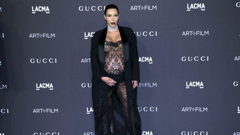 Kim Kardashian arrives at the LACMA Art + Film Gala in Los Angeles, California, November 7, 2015