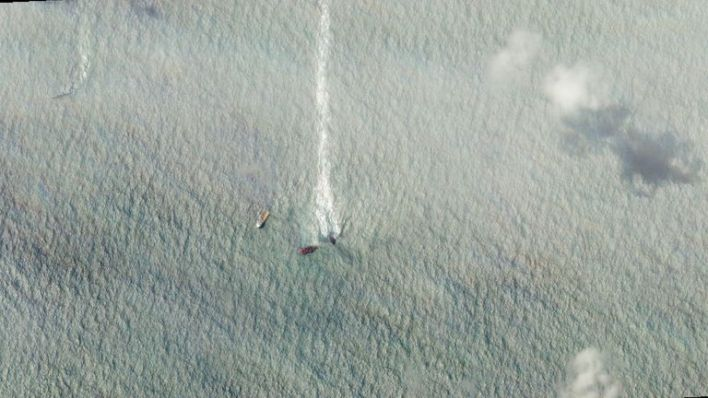 The oil can be clearly seen drifting over a large area of open water. Pic: Planet Labs
