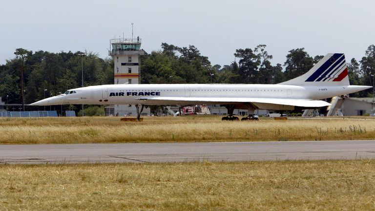 The last flight of an Air France Concorde supersonic aircraft ends at Karlsruhe-Baden-Baden Airport in Germany.
