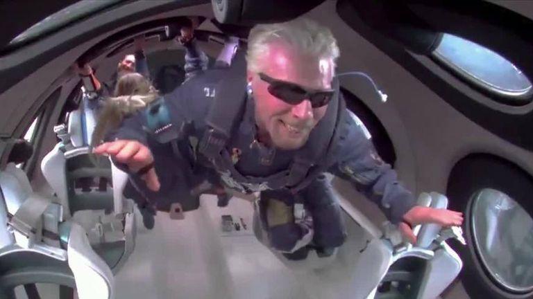 Richard Branson becomes weightless