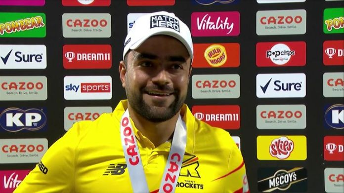 Hero of the Match Rashid Khan speaks to Mel Jones after Trent Rocket's incredible victory over the Southern Brave