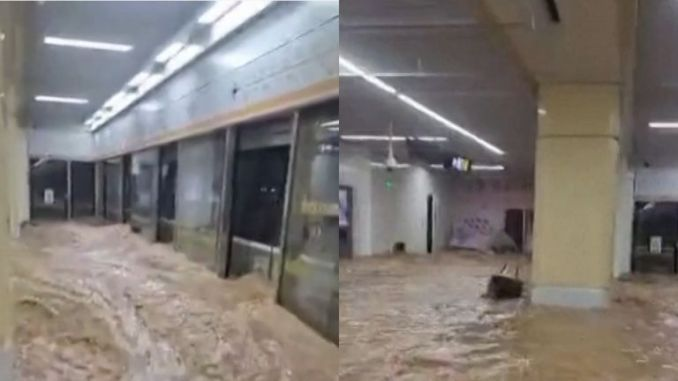 Subway trains and stations were seen to be flooded