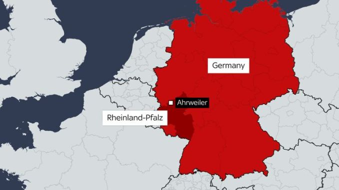A map of the flooding in western Germany