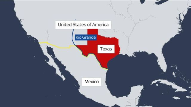Map of US and Mexico showing the Rio Grande