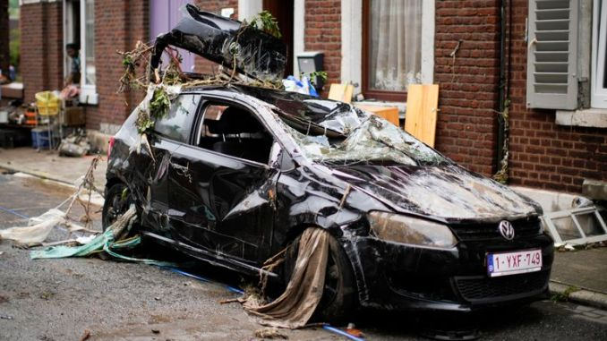 A destroyed car in Verviers, Belgium. Pic Associated Press