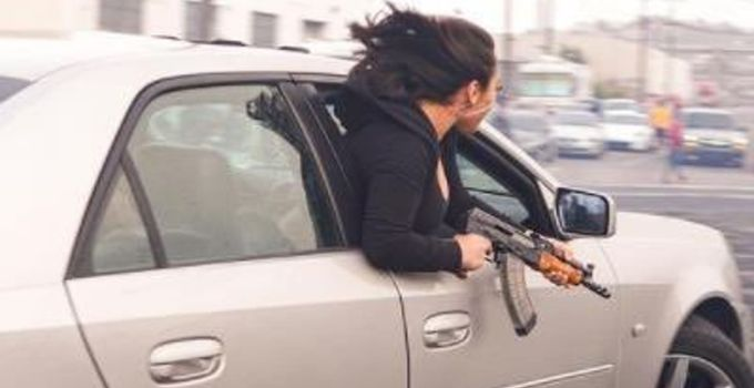 Woman in San Francisco pictured waving AK-47 out of car widow | US News
