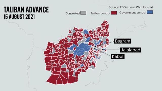 Taliban gains in Afghanistan 15 August