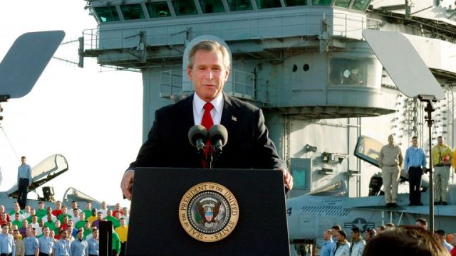 George W. Bush declares the end of major combat in Iraq on 2 May 2003. Pic: AP