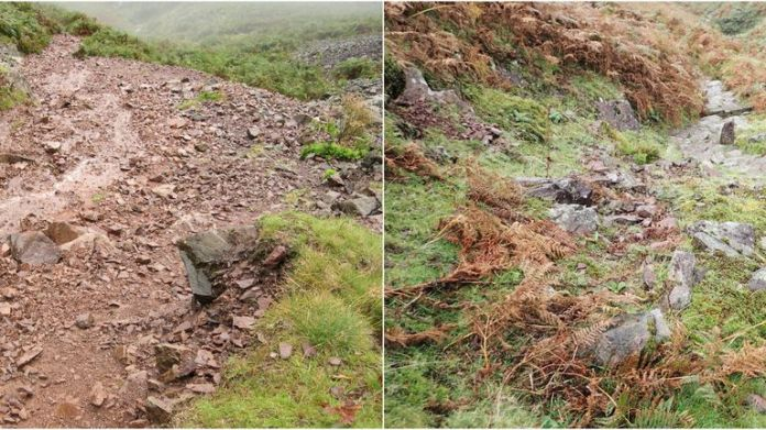 Undated handout photo issued by Fix the Fells of the before and after pictures of Silver How fell in Grasmere. The staycation boom has led to an increase in the erosion of the Lake District landscape, according to an organisation set up to protect the area. Issue date: Wednesday August 18, 2021.