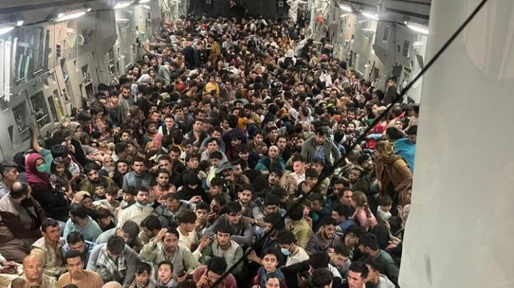 It is believed more than 600 people were crammed onto the aircraft Pic: Defense One