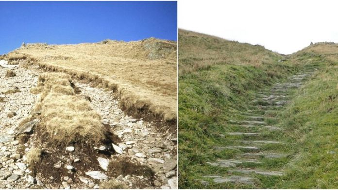 Undated handout photo issued by Fix the Fells of the before and after pictures of Garburn Fell in Windermere
