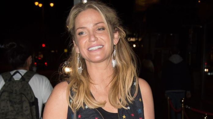 Girls Aloud singer Sarah Harding leaves the New Wimbledon Theatre in London after making her stage debut in a new production of Ghost - The Musical.