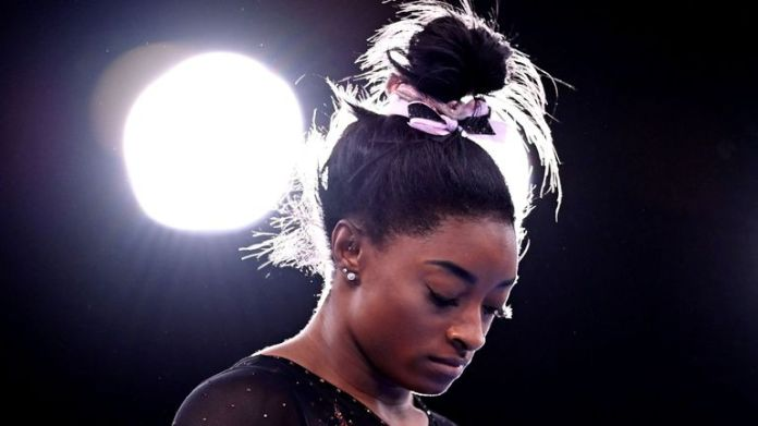Simone Biles of the United States during training in Tokyo