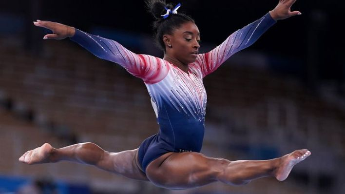 USA's Simone Biles in the Women's Balance Beam Final at Ariake Gymnastic Centre on the eleventh day of the Tokyo 2020 Olympic Games in Japan. Picture date: Tuesday August 3, 2021.