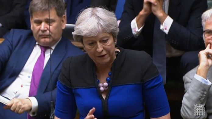 Former prime minister Theresa May only removed her face mask when speaking during the debate