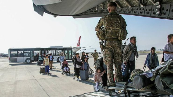 Must Credit MoD. ** Some blurring of faces has been applied to protect identities ** Image of British citizens and dual nationals residing in Afghanistan being relocated to the U.K. As part of Operation PITTING, the UK Armed Forces are enabling the relocation of personnel and others from Afghanistan. On Sunday 16th August the first flight of evacuated personnel arrived at RAF Brize Norton in the UK. The flight constituted of British Embassy staff and British Nationals. British forces from 16 Air