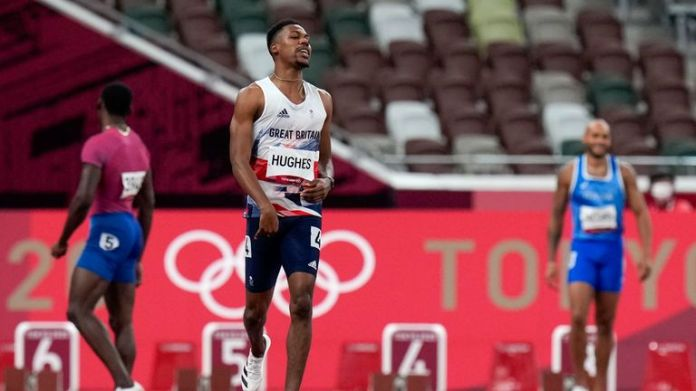 Zharnel Hughes was disqualified after a false start. Pic: AP