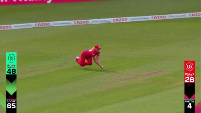 Welsh Fire's Katie George takes this stunning catch, getting rid of Dane van Niekerk