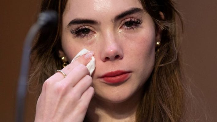 U.S. Olympic gymnast McKayla Maroney testifies during a Senate Judiciary hearing about the Inspector General's report on the FBI handling of the Larry Nassar investigation of sexual abuse of Olympic gymnasts, on Capitol Hill, in Washington, D.C., U.S., September 15, 2021. Saul Loeb/Pool via REUTERS