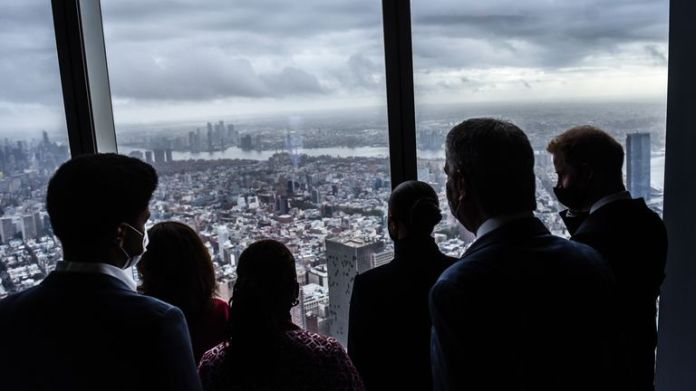 Handout photo issued by the Office of the Mayor of New York of Governor Kathy Hochul, the Duke and Duchess of Sussex, Mayor Bill de Blasio, First Lady Chirlane McCray and Dante de Blasio during a visit to the One World Observatory in New York. Picture date: Thursday September 23, 2021.