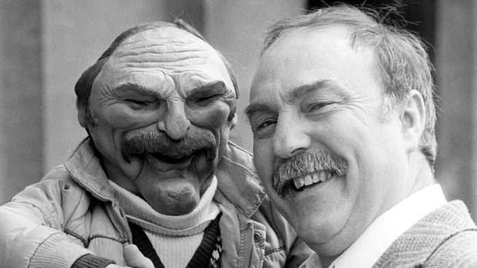 Jimmy Greaves and his Spitting Image puppet meet at the Grosvenor House Hotel, Park Lane, London, at the Television and Radio Industries Club's 1986 TRIC Awards ceremony