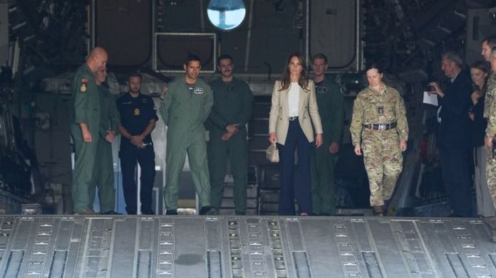 The Duchess of Cambridge during a visit to RAF Brize Norton, near Oxford, to meet military personnel and civilians who helped evacuate Afghans from their country. Picture date: Wednesday September 15, 2021.  Steve Parsons/PA Wire/PA Images