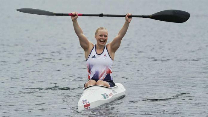 Laura Sugar celebrates her gold