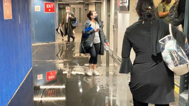 Flooding in New York's Penn Station during record-breaking rainfall