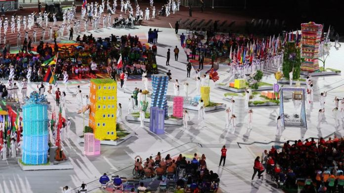 Paralympic Closing Ceremony is held at National Stadium in Tokyo on Sep. 5, 2021. ( The Yomiuri Shimbun via AP Images )