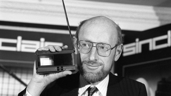 Sir Clive poses gadget in hand at the launch of the Sinclair 2-inch pocket television in 1983