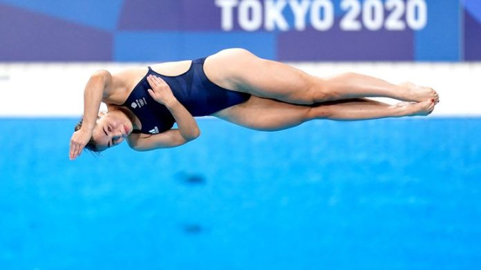 Great Britain's Scarlett Mew Jensen during the Women's 3m Springboard Preliminary at the Tokyo Aquatics Centre on the seventh day of the Tokyo 2020 Olympic Games in Japan. Picture date: Friday July 30, 2021.