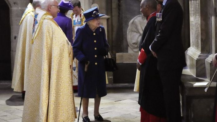Queen Elizabeth II using a walking stick attends a Service of Thanksgiving at Westminster Abbey in London to mark the Centenary of the Royal British Legion. Picture date: Tuesday October 12, 2021.