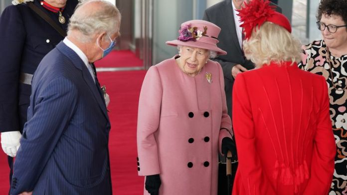 The Queen with the Prince of Wales and the Duchess of Cornwall