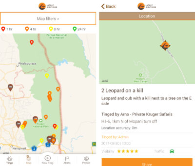 The app Latest Sightings maps real-time wildlife sightings by tourists in South Africa's Kruger National Park.
