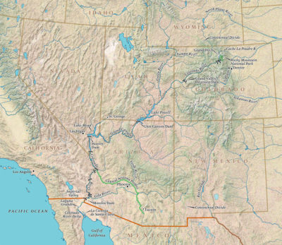 The Colorado flows 1450 from the Colorado source to the southwest, and ends just outside the Gulf of California.