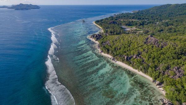 The coast of Baie Sainte Anne, Seychelles