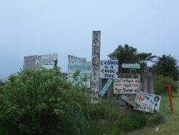 Signs protesting coastal pipeline development in Old Massett, Haida Gwaii