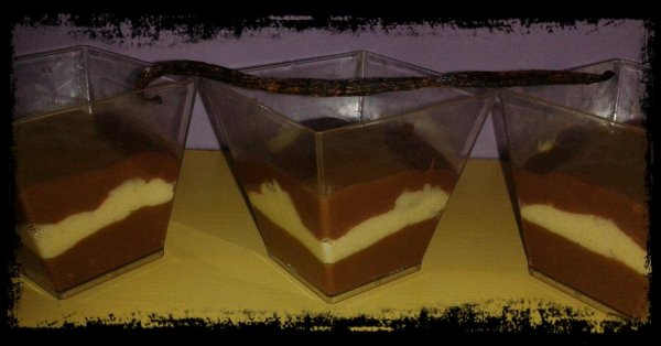 Crèmes Vanille-Chocolat et tuiles à la cannelle